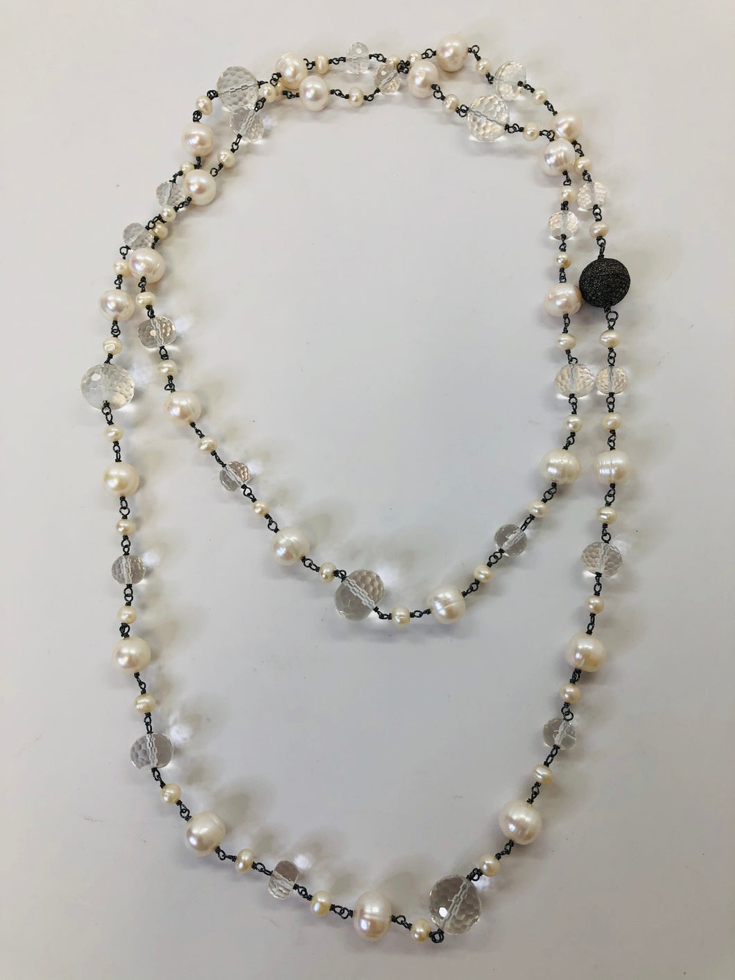 Rainey Elizabeth Long Pearl, Crystal and Diamond Necklace