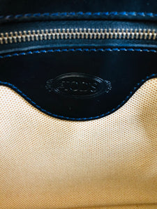 Tod's Navy Blue Leather Shopper Tote Bag With Strap