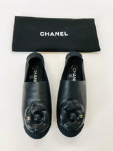 Load image into Gallery viewer, CHANEL Black Camellia Loafers Size 7
