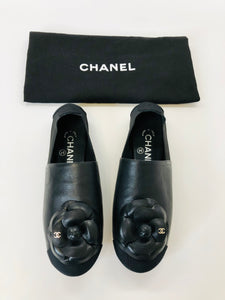 CHANEL Black Camellia Loafers Size 7