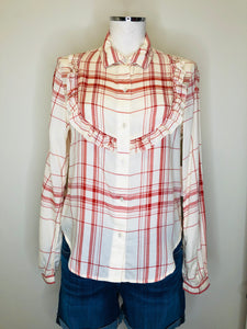 Frame Button Down Ruffle Front Shirt Sizes Small, Medium and Large