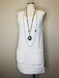 CHANEL Ivory Tweed Trim Dress size 34