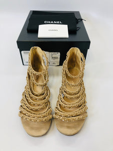 CHANEL Coco Tower Cage Sandals size 38