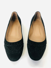 Load image into Gallery viewer, Hermès Noir Suede Laser Cut Flats Size 35 1/2
