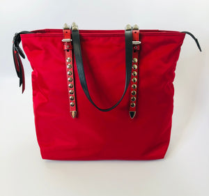 Prada Red Nylon Tote Bag With Leather and Studs