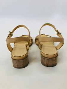 CHANEL Camel Leather Sandals Size 38
