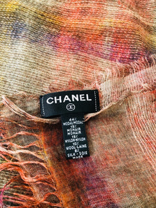 CHANEL Large Oblong CC Embroidered Multicolor Shawl