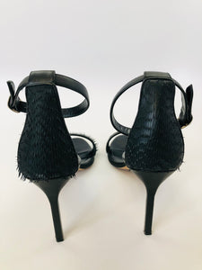 Manolo Blahnik Chaos 90 Black Leather Sandals Size 39 1/2
