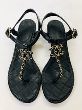 Load image into Gallery viewer, CHANEL Gold CC Thong Sandals Size 38 1/2