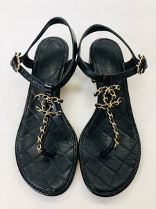 CHANEL Gold CC Thong Sandals Size 38 1/2