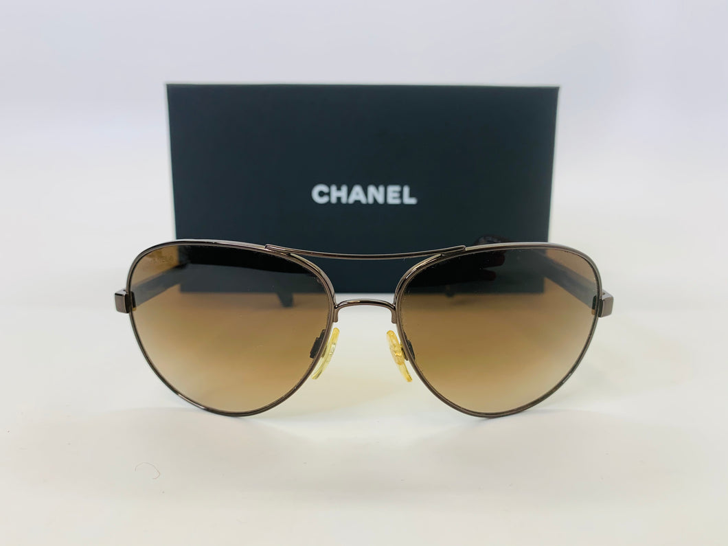 CHANEL Small Brown Mirror Aviator Sunglasses