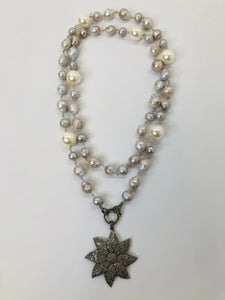Rainey Elizabeth Long Pearl and Pave Diamond Necklace