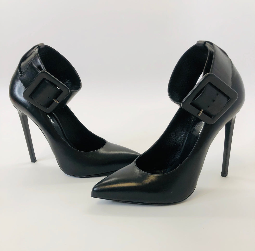 Saint Laurent Black Ankle Wrap Pumps size 39