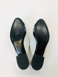 CHANEL Silver and Black Mules Size 37