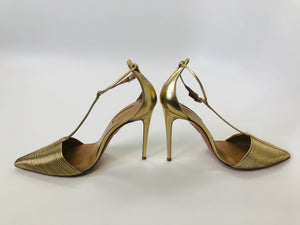 Aquazzura Gold Ankle Wrap Pumps size 39 1/2