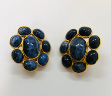 Load image into Gallery viewer, CHANEL Vintage Gold Plated and Blue Stone Clip On Earrings