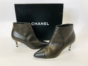 CHANEL Brown and Black Booties Size 36 1/2
