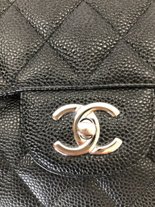 CHANEL Large Black Caviar Leather Classic Double Flapbag
