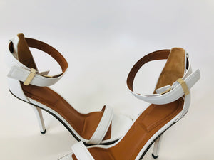 Givenchy White Leather Zipper Trim Nadia Sandals Size 39 1/2
