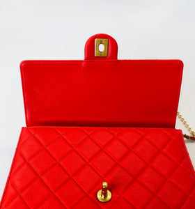 CHANEL Red Quilted Leather Flapbag with Pearl and Chain Strap