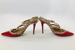 Valentino Garavani Red Patent Leather Rockstud Slingbacks size 39 1/2