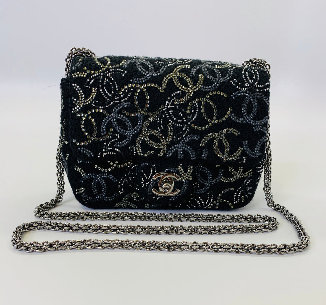 CHANEL Black Tweed and CC Strass Crystals Mini Flapbag