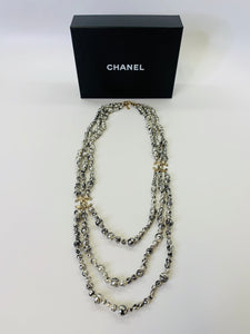 CHANEL Three Strand Graffiti Painted Pearl Necklace