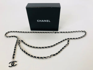 CHANEL Silver and Black Leather Chain Belt Size Small