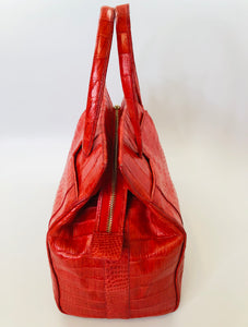 Nancy Gonzalez Red Crocodile Top Handle Bag