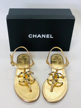 Load image into Gallery viewer, CHANEL Gold Flat Sandals Size 38