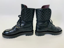 Load image into Gallery viewer, CHANEL Black Leather, Pearl and Silver Chain Combat Boots Size 37 1/2
