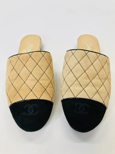 CHANEL Beige and Black Mules Size 37 1/2