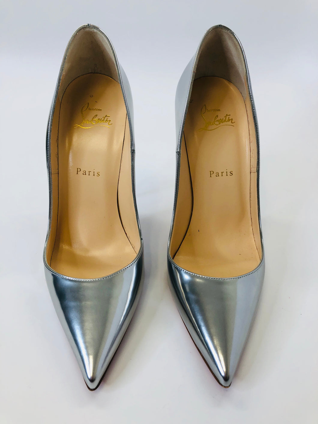 Christian Louboutin Silver Leather So Kate 120 Pumps size 39 1/2