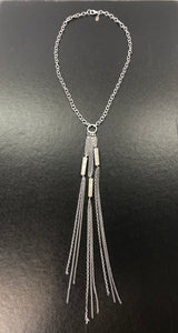 Sheryl Lowe Sterling Silver and Diamond Fringe Lavalier Necklace