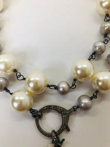 Rainey Elizabeth White and Grey Pearl Long Necklace