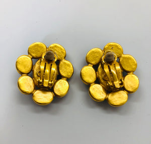 CHANEL Vintage Gold Plated and Blue Stone Clip On Earrings