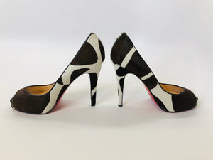 Christian Louboutin Ivory and Brown Peep Toe Platform Pumps Size 39