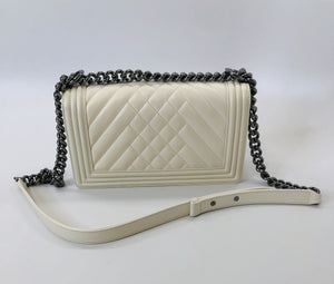 CHANEL White Quilted Calfskin and Silver Tone Metal Medium Boy Bag