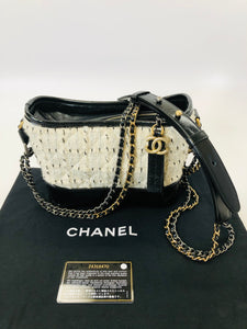 CHANEL Small Leather and Tweed Gabrielle Bag