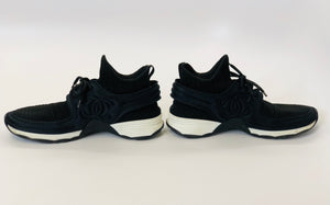 CHANEL Black and White Fabric Sneakers Size 38