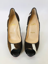 Load image into Gallery viewer, Christian Louboutin Ivory and Brown Peep Toe Platform Pumps Size 39