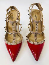 Load image into Gallery viewer, Valentino Garavani Red Patent Leather Rockstud Slingbacks size 39 1/2