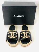 Load image into Gallery viewer, CHANEL Espadrille Slides Size 38