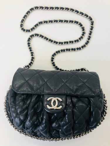CHANEL Black Medium Chain Around Messenger Bag