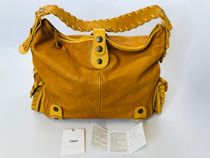 Chloe Tan Leather With Brass Hardware Silverado Shoulder Bag