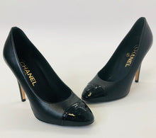 Load image into Gallery viewer, CHANEL Black CC Toe Pumps size 35 1/2