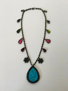 Rainey Elizabeth Sapphire, Diamond and Turquoise Necklace