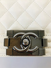 Load image into Gallery viewer, CHANEL White Quilted Calfskin and Silver Tone Metal Medium Boy Bag
