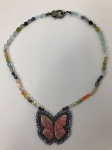 Rainey Elizabeth Rhodocrochite Butterfly Short Necklace