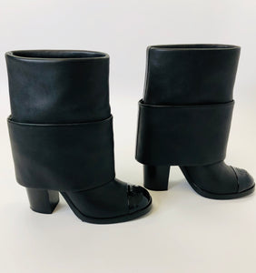 CHANEL Black CC Toe Boots Size 38